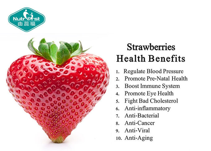 Pink Delicious Fruit And Vegetable Powder , Freeze Dried Strawberry Fruit Powder Support Healthy Eyesight